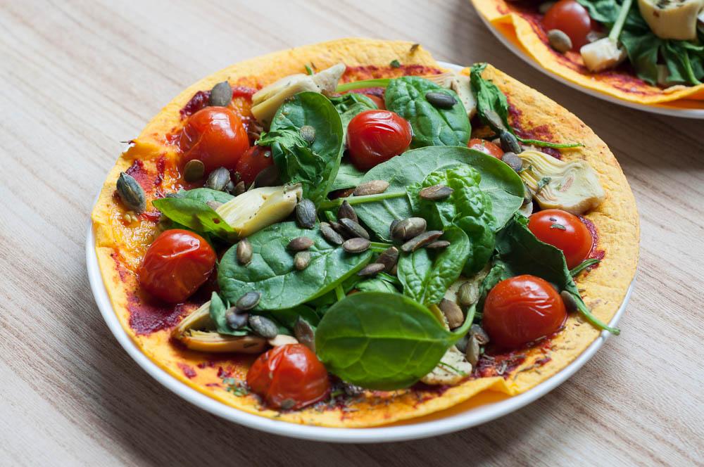 pizzawrap met spinazie en artisjokharten