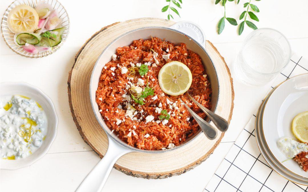 griekse tomatenrijst met tzatziki en salade online diëtist