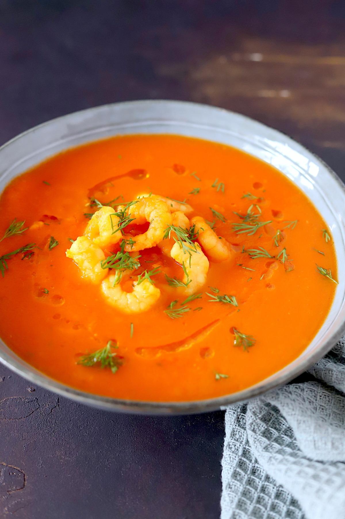 tomatensoep met komijn en knoflookgarnalen online diëtist