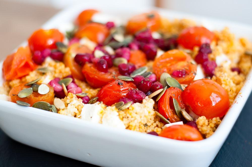couscous met cherrytomaatjes feta en granaatappelpitjes online diëtist