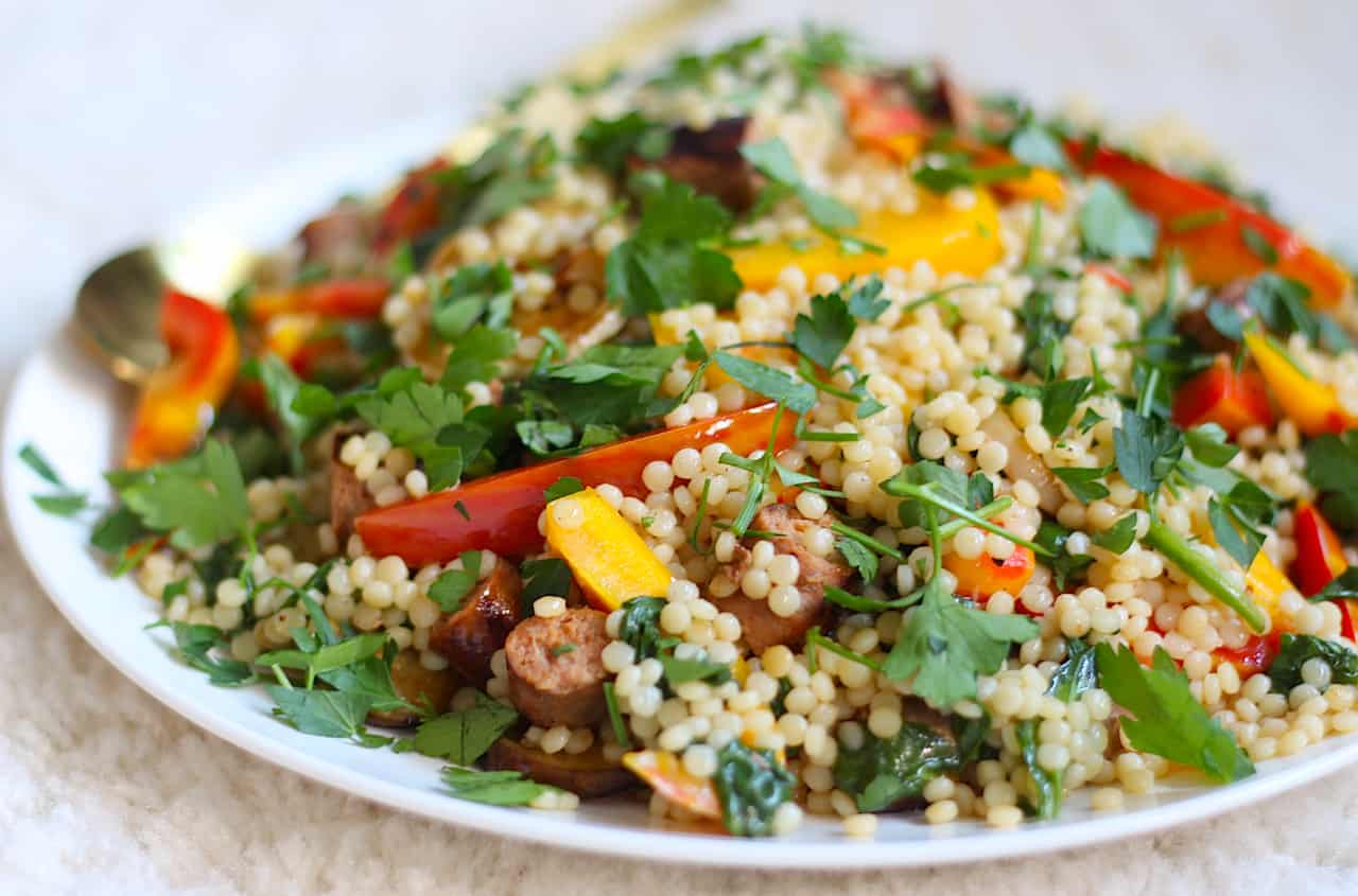 salade parelcouscous met aubergine en parika online diëtist