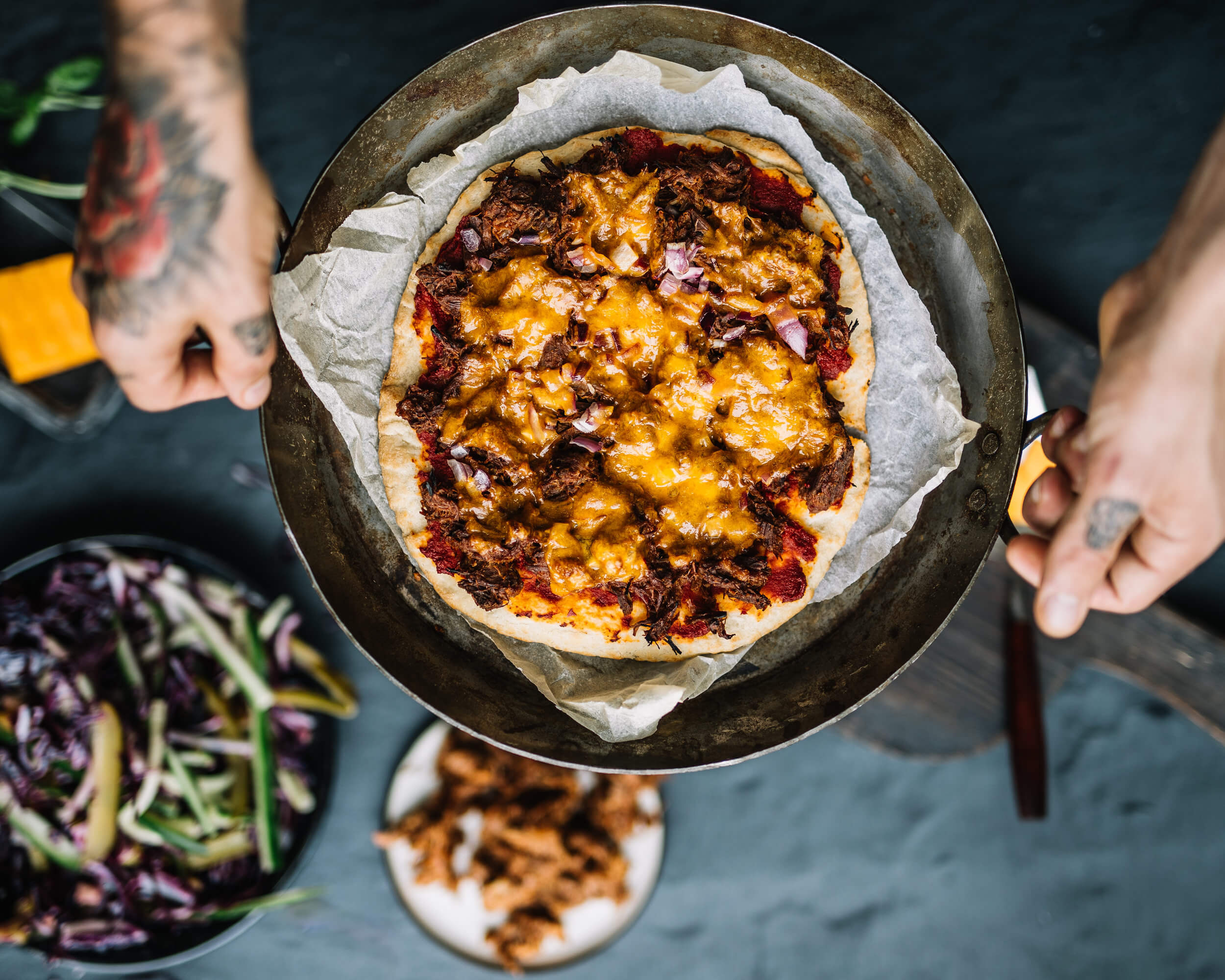 pulled beef pizza met cheddar online diëtist